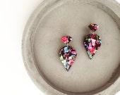 Multiclour Glitter drop laser cut earrings - 'Queen Jewels' - Hypoallergenic - Made in Australia