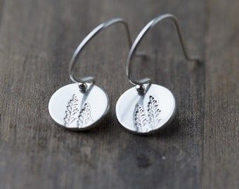 Hand Stamped Tree Earrings Sterling Silver | Nature Jewelry Gift Ideas for Her | Small Silver Dangle Earrings