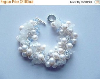 30% OFF SALE thru 2-28 Pearl and Crystal Bracelet, Christmas Gift, Mom Sister Jewelry, Freshwater Pearls, Flowers White, Romantic Chunky Bra
