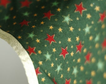 Handmade Christmas table cloth - round - green red gold stars