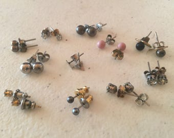 Stud Earrings Pierced Vintage De-stash lot 635