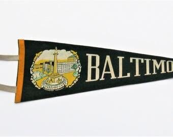 Vintage Baltimore Pennant: Vintage Felt Pennant, Baltimore MD, Washington Monument, Travel Pennant
