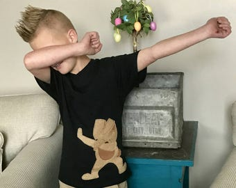 The whole family - Dabbin' into Spring Easter bunny tan, brown applique - Easter bunny doing the dab shirt Sizes boys girls tween adults