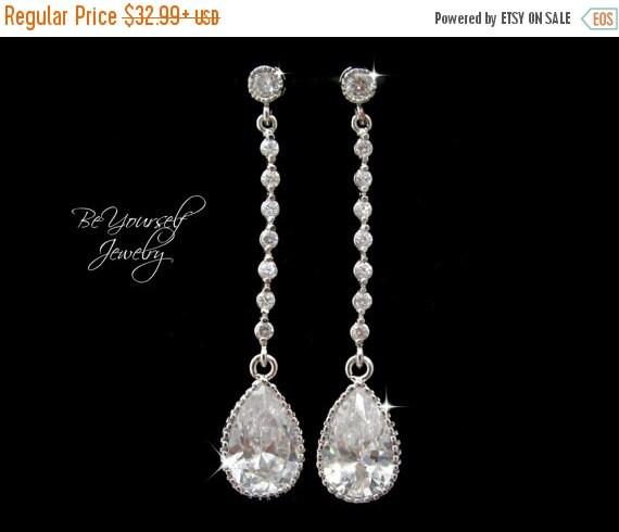 White Crystal Bridal Earrings Teardrop Bride Earrings Wedding Jewelry Cubic Zirconia Wedding Earrings Bridesmaid Gift CZ Sterling Earrings