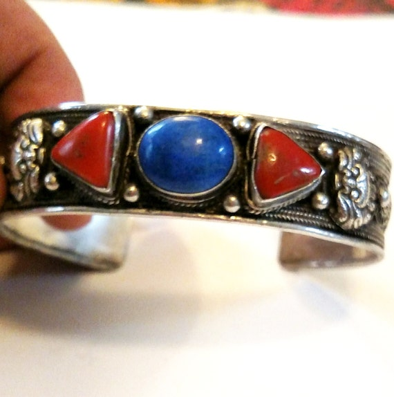 Vintage 1970s Silver, Pewter, Lapis and Coral Cuff Bracelet from Nepal