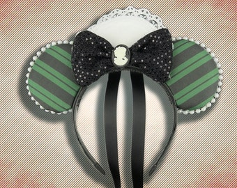 Haunted House Maid Mouse Ear Headband with Bow and Cameo
