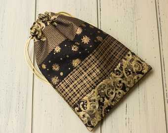 Black and Gold Boho Tarot Pouch - Large