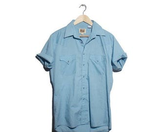 SALE Med | ELY Cattleman Light Blue Pearl Snap Western Short Sleeve Shirt