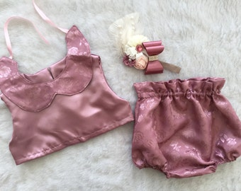 Baby Toddler Satin Crop Top, High Waist Bloomer and Peter Pan Collar Three Piece Set