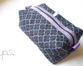 Quilted Lattice on Black Boxy Pouch - Quilted Box Pouch - Travel Pouch - Quilted Cosmetics Pouch