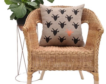 Copperhead Goat Cushion Cover - Hand Printed, Decorative Cushion Cover, Throw Cushion Cover, Linen, Black, Copper, Home Decor, Pillow Cover