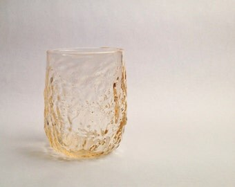 Whiskey Glass, Handblown Vintage Style Glass, Pale Gold Transparent Sea Coral Glass, Holiday Gifts, Entertaining