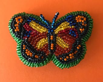 Original Handmade Butterfly Seed Beaded Pin