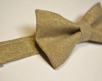 Mens Bowtie in Gold Metallic Linen, Gold Bow Tie,  Groomsmen Bow Tie, Wedding Bow Tie, by AmandaJoHandmade on Etsy