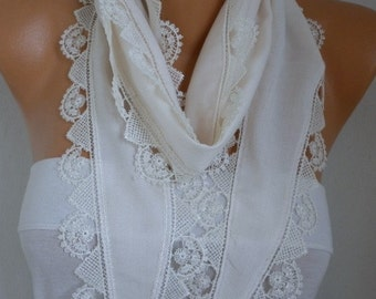 Creamy White Pashmina Scarf,Soft,Bridal Scarf,Wedding Scarf,Necklace, Cowl Bridesmaid Gift For Her Women Fashion Accessories