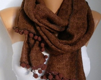 ON SALE --- Brown Knitted Scarf Cowl Scarf Winter Scarf,Evening Wrap,Gift Ideas For Her Women's Fashion Accessories Valentine's Day Gift