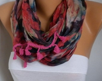 La Vie en Rose - Exclusive Spring Infinity Scarf,Soft, Pink Tassel,Circle Loop Scarf, Cowl Scarf Gift For Her  Women's Fashion Accessories