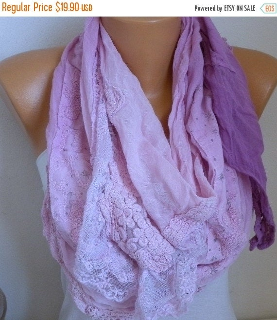 ON SALE --- Pink & Lilac Ombre Cotton Shawl,Soft, Fall Scarf, Cowl,Bridesmaid Gift, Bridal Scarf,Women Scarves Lace Scarf,Wedding Scarf