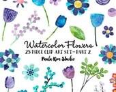 CYBER MONDAY sale 50% OFF Watercolor Flower Clipart, Floral Clip Art, Digital Scrapbook Flowers, Commercial Use, Digital Download