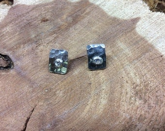 Hammered, sterling,white sapphire earrings