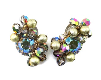 Vintage D&E JULIANA Carnival Rhinestone Crystal Bead Metal Ball Earrings