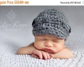 ON SALE Charcoal grey Newsboy Beanie - Newborn Boy Photo prop