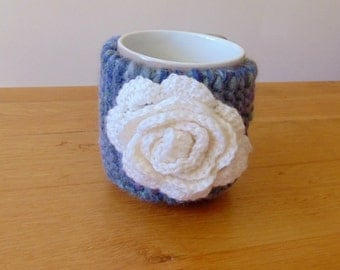 Hand knitted,Flower mug cosy,cup cozy.