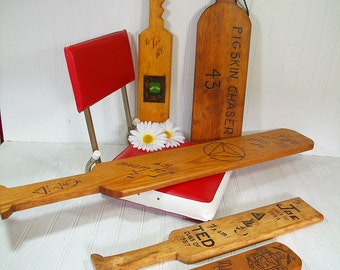 Collection of Vintage Fraternity Hazing Paddles - 4 Handmade Wooden University Clubs Souvenir College Memorabilia Frat Sorority Initiation