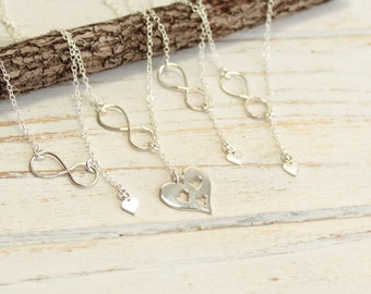 Sterling Silver Infinity Mother and Three Daughter Cut Out Heart Necklace Set... Includes Four Pieces