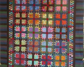 Queen Size Quilt Made With the Bear Paw Block in Brightly Colored Contemporary Fabrics
