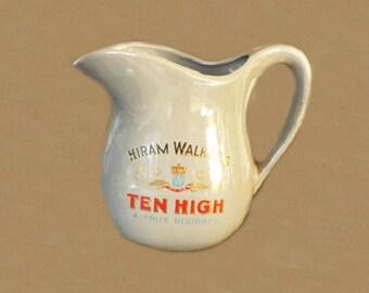 Vintage Hiram Walker Ten High Liquor Pitcher, Pub Jug, Whiskey Jug, Whiskey Pitcher, Barware, Bar Decor, Water Pitcher, Advertising, Collect