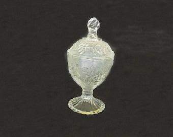 Antique Depression Glass Candy Jar with Lid, Covered Jar, Serving Jar, Condiment Jar, Home Decor, Dining and Serving, Kitchen Decor