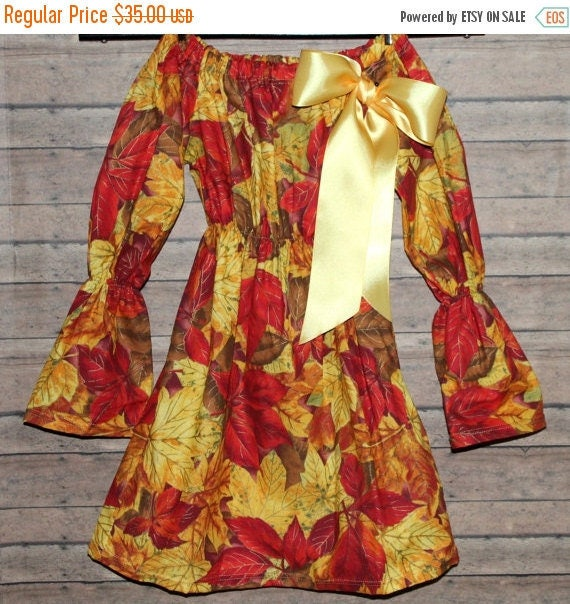 Girls 4/5 Thanksgiving Peasant Dress Holiday Dress Colorful Fall Leaf Dress Gold Satin Ribbon Bow Sample Sale READY TO SHIP