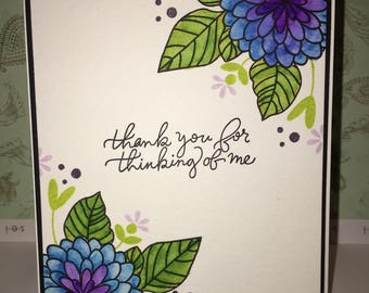 A thoughtful thank you floral handmade card