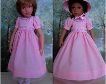Embroidered Doll Dress & Bonnet-Effner Maru Mini Pal-Kish Seasons-Pink Lavender-Juried Stitchery Artist-Free US Ship