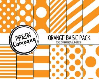 Orange Digital Paper Pack, Orange and White Scrapbook Paper, Instant Download,  Polka Dots Stripes