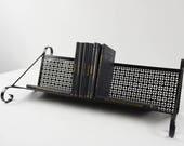 Mid Century bookshelf / Vintage table top bookshelf / Metal bookshelf / Black pierced metal bookshelf