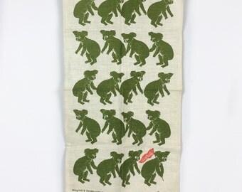 Koala bear Linen tea towel vintage Linen kitchen towel Rodriguez signed tea towel Australia