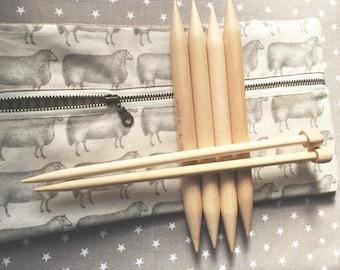 Sheep No. 4 Knitting Needle Case, Zipper Pouch