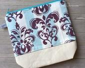 Scroll Knitting Project Bag |  Medium Size Project Bag | Zipper Pouch | Crochet Project Bag | Zippered Project Bag | Make Up Bag