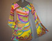 MOD Mini Dress,  Neon Psychedelic, Polyester Jersey, 1960's Reproduction //  Long Bell Sleeves // Back Zipper, Excellent...small-medium