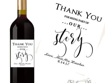 Personalized Thank You Wedding Wine Label Custom Wedding Wine Label - Choose Quantity - Elegant Wedding Favor - Centerpiece - Table Decor