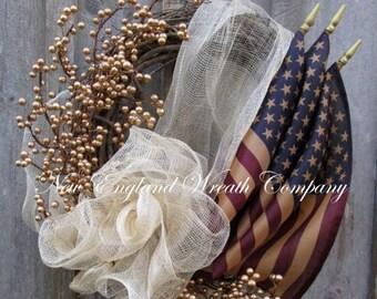 ON SALE Americana Wreath, Patriotic Wreath, Fourth of July Wreath, Memorial Day Wreath, Elegant Patriotic Wreath, Military Wreath, Tea Stain