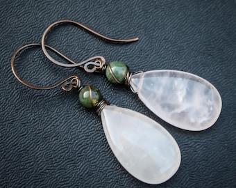 Dagr. Rose Quartz Earrings with Moss Agate. Sindri's Forge.