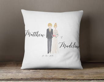 Square Pillow Bride and Groom Portrait Printed with personalised message