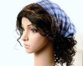 HEADBAND SALE Denim Blue Headband Head Scarf Boho Hippie Fashion Handmade Hair Wrap in Soft Cotton Denim Blue Woven Plaid