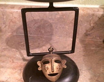 TRIBAL MASK DECOR, Brass  Wrought Iron Centerpiece, Mask Decor, Candle Holder, Black, Halloween Decor, Holidays