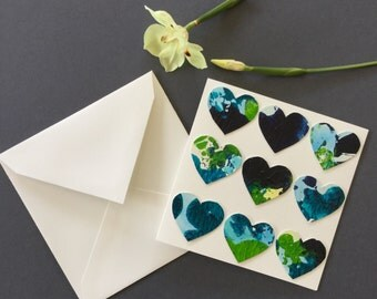 Handmade card, heart card, valentines day, love heart, occasion card, original art