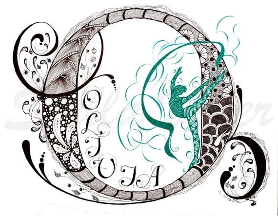 Custom Hand Drawn Original Girl Monogram Letter O - 11x14  wall decor, wall art by Stella Viner