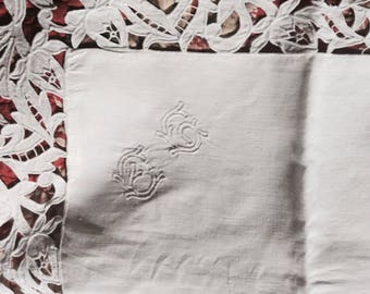 Antique French white linen pillowcase with cutwork edge